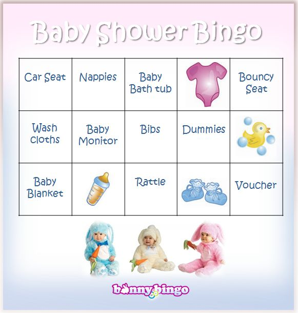 Well-known Baby Shower Bingo Cards from Bunny Bingo! | Bingo VS39