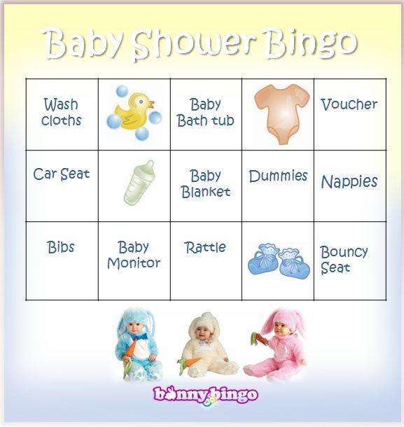 Baby Shower Bingo Cards From Bunny Bingo Bingo
